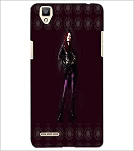 PrintDhaba Girl with Attitude D-3569 Back Case Cover for OPPO F1 (Multi-Coloured)