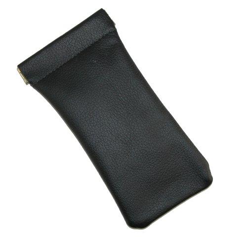 CTM® Unisex Leather Eyeglass Holder and Case, Black