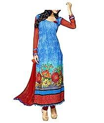 Admyrin Women Blue and Red Chiffon Dress Material