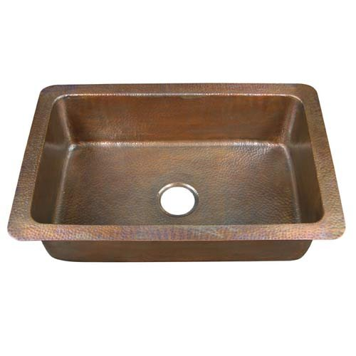 Barclay 6921-AC Large Single Bowl Drop In Kitchen Sink in Hammered Antique Finish 6921-AC