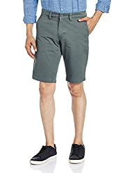 The Indian Garage Co. Men's Cotton Shorts (SHORT601-Grey_34)