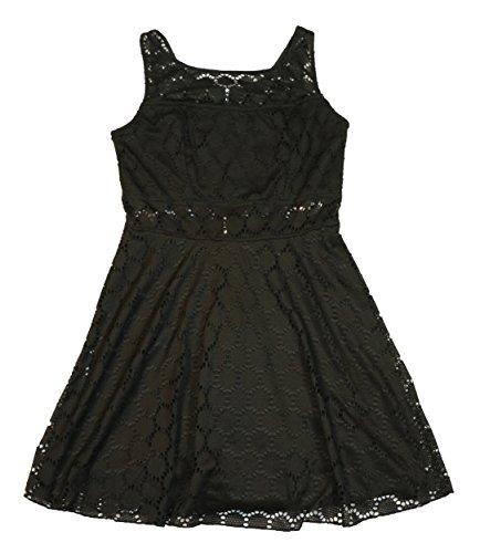 Trixxi Juniors Lace Illusion Skater Little Black Dress - Above Knee (11, Black)