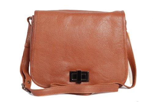 Brown tan leather shoulder handbag satchel style style organiser handbag by Pell Mell