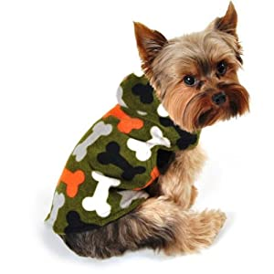SimplyDog Fleece Dog Jacket, Olive Green, Multi-Colored Bone Print, Multiple Sizes Available (S)