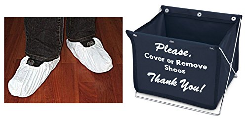 Shoe Cover Kit (50 pairs of white shoe covers PLUS 1 shoe cover holder) (Blue) (Shoe Cover Holder compare prices)