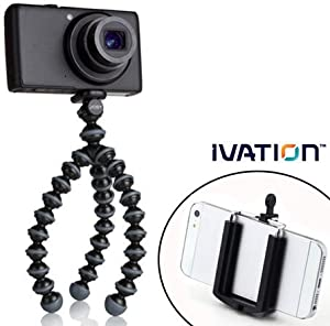 JOBY Gorillapod Flexible Tripod (Black/Charcoal) and a Bonus Universal Smartphone Tripod Mount Adapter works for iPhone 5, 5s, 6, 6 Plus, 6s, HTC One, Galaxy s2, S3, S4, S5, S6, Blackberry Z10,Q10, Motorola Droid and Most Smartphones