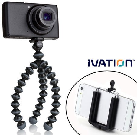 JOBY-Gorillapod-Flexible-Tripod-BlackCharcoal-and-a-Bonus-Universal-Smartphone-Tripod-Mount-Adapter-works-for-iPhone-5-5s-6-6-Plus-6s-HTC-One-Galaxy-s2-S3-S4-S5-S6-Blackberry-Z10Q10-Motorola-Droid-and