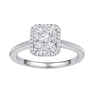 10kt White Gold Womens Round Natural Diamond Square Cluster Fashion Ring (.33 cttw.)