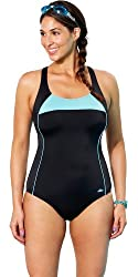 Aquabelle Women's Xtra Life Lycra Mint Border Cross Back Swimsuit