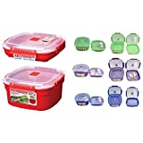 Sistema 2 Piece Medium Microwave Steamer and Plate Set with a Starter Recipe Guide for 15 Amazing Steamer Meals - Assorted Colors