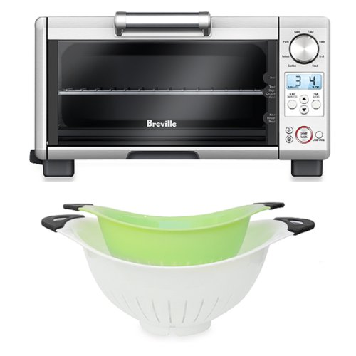 Set 2 Of White And Green Colanders With Breville® Element Iqtm Mini Smart Oven
