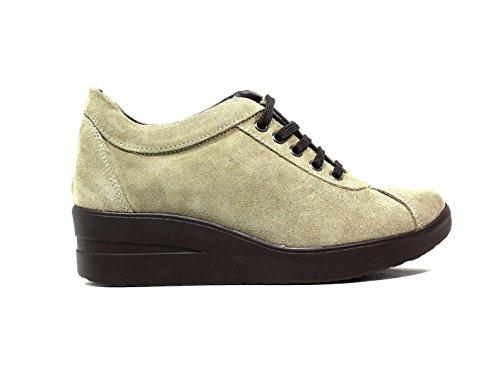 Only I sneakers donna zeppa media camoscio taupe nuova collezione autunno inverno 2016 2017