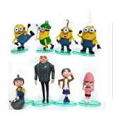 Triline 8 Pieces- Despicable Me Minion Toy 3D Eyes Dave Tim Jorge PVC Action Figures Toy