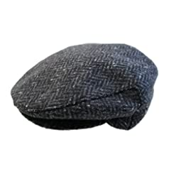 John Hanly & Co. Irish Tweed Flat Cap - Charcoal Donegal Herringbone