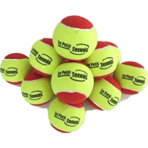 Buy Le Petit Tennis Slow Bouncer 36' Yellow-Red Tennis Balls Kids - Pack12 - (Stage 3 Ball - For Playing on 36ft Court) by Le Petit Tennis