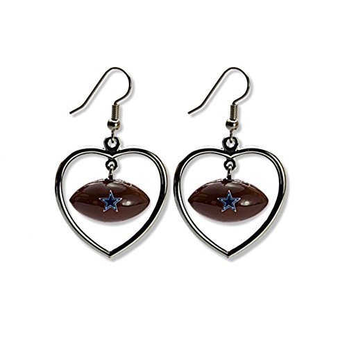 Licensed Nfl Dallas Cowboys Team Logo Heart W/Mini Football Dangling Earrings