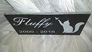 You Personalize Pet Memorial Stone Basic Cat 12x6 with Black Granite Plaque Laser Engraved with Pet's Name, Year of Birth and Year of Death
