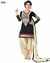 New Black cotton patiyala Dress materials