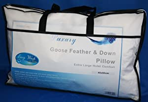 Homescapes - Kids Pillow - Goose Feather and Down Filling - 40 x 60 cm - Anti Dust mite 100% Cotton Fabric - Anti Allergen Filling - Washable at Home - Firmness SOFT / Medium