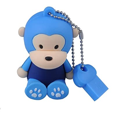 Sitting Baby Monkey USB 2.0 High Speed Silicon Flash Memory Drive Disk Stick Pen Support Windows and MacOS Great Gift (8GB Light Blue). Presented in a Metal Gift Box. from NUT