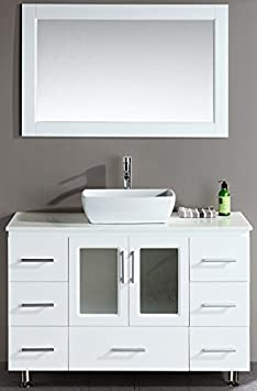 Design Element Stanton Single Vessel Sink Vanity Set with White Finish, 48-Inch