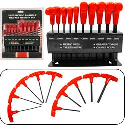 High Torque 10 piece Metric T-Handle Hex Key Wrench Set. Product Category: Hardware > Hand Tools