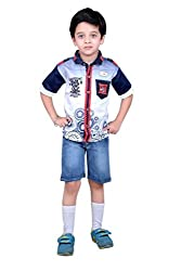 Boys Shirts and Shorts Combo Kids Wear Pack of two by Arshia Fashions - Cotton and Denim - 2 - 5 Years -Half Sleeves