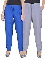 Kalrav Solid Blue and Grey Cotton Pant Combo