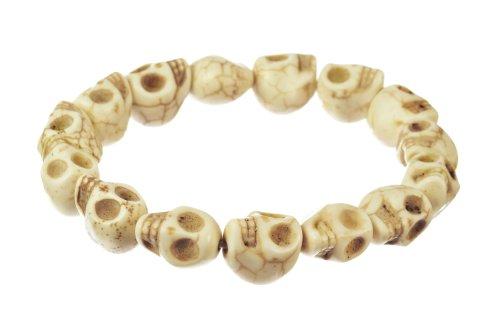 Men's Howlite White Skull Stretch Bracelet, 8