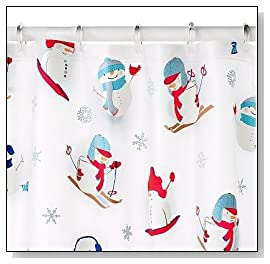 Snowmen on Skis Peva Shower Curtain