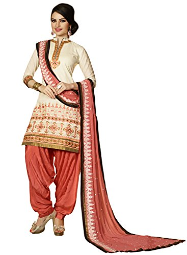 Kvsfab Womens Cotton Zari Patiala Unstitched Dress Material (2755Jodha-2 _Cream)