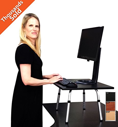The Original Stand Steady - Instantly change any desk to a standing desk! Award-Winning! Featured in Forbes & The Washington Post (Black)