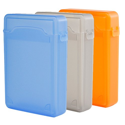 Ikross 3 Colors Package - 3.5 Inch Ide/Sata Hdd Storage Protection Boxes - Blue,Gray And Orange