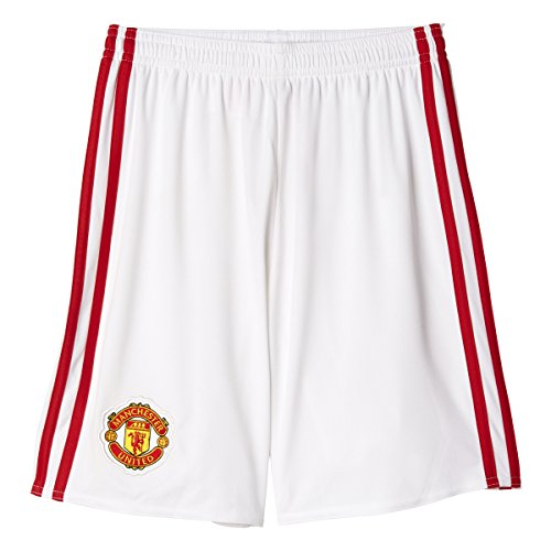 Adidas Manchester United FC Boys Home Replica Soccer Shorts L White-Real Red (Shorts Manchester United compare prices)