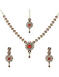 Krishnas Red White Color Necklace Sets For Women-KT059