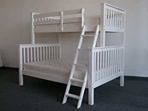 Bunk Bed Twin over Full Mission style in White by Bedz King