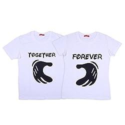 Vivid Bharti unisex-adult Cotton T-Shirt (MW-RN-2GTHER4EVR-WHITE-HS-TSHRT_White)