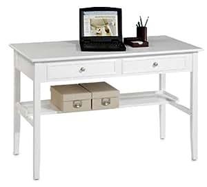 Oxford 48 Inch White Two Storage Drawer Writing Desk, TWO-DRAWER, WHITE