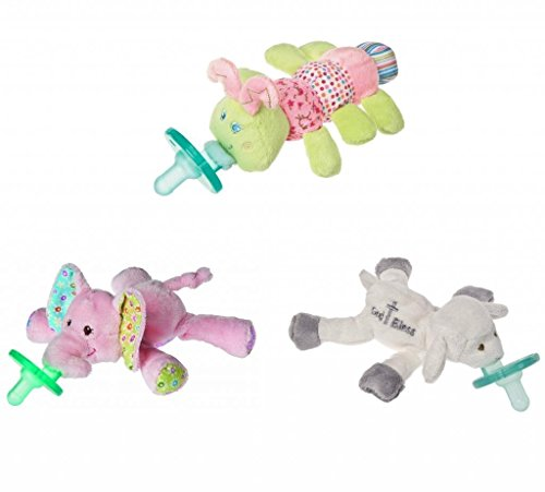 WubbaNub Infant Plush Pacifier - Limited Edition Set (Cutsie Caterpillar, Ella Bella Elephant, God Bless Lamb)