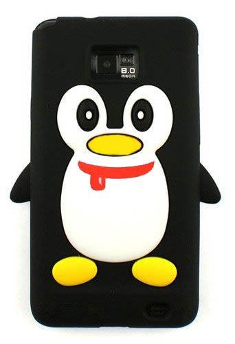 Tinkerbell Trinkets® Neu Zweite Generation mit Mund schwarz Samsung Galaxy S2 i9100 Pinguin niedlichen Tier Silikonhülle Shell Beschützer Handy Smartphone Zubehör