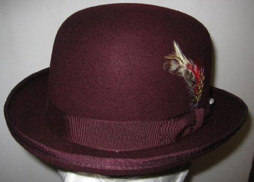 [New Mens 100% Wool Burgundy (Maroon / Dark Red) Derby Bowler Hat] (40s Mobster Costumes)