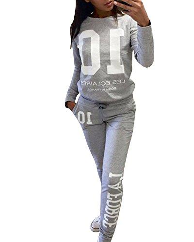 Donna Tuta Da Ginnastica Jogging Tuta Sportiva Fitness Sport Felpa e Pantaloni Grigio M