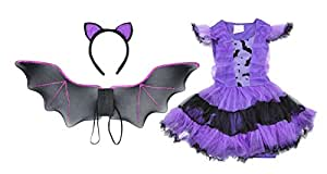 Halloween Costumes Performance Clothing Dress Bat Wings Head Band Girls Purple