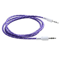 (3 Foot - 1M - 100cm) Storite 3.5mm Male To Male Stereo Audio Cable - Step Down Design for iPhone, iPod, Smartphone, Android Phone,Tablet, Desktop Computer, Laptop, Portable Speakers and MP3 Cases Cotton wired - (Purple)