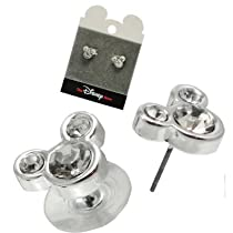 Disney Mickey Mouse Ears Stud Post Earrings on Mouse Card - Clear Ice Crystal