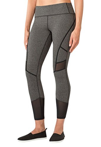MPG Women's Julianne Hough Collection Arabesque Herringbone Capri L Black Herringbone