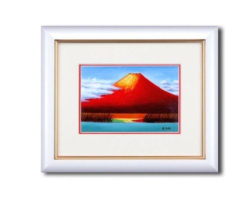 手描き油絵 小野あきら油絵額(サム) 「赤富士」/ 絵画 壁掛け のあゆわら