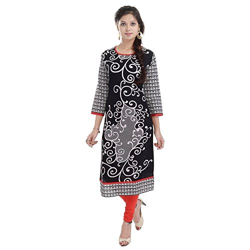 Black Long Kurtis For Women Round Neck Printed Floral 3/4 Sleeves BCRMF-5013-V