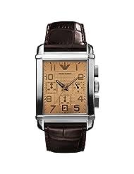 Armani Emporio Brown Leather Quartz Beige Dial Men's Watch - AR0337