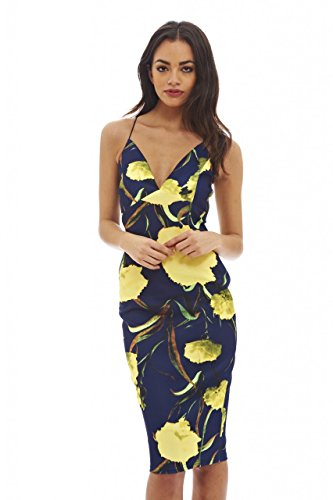 AX Paris Women's Deep V Front Midi Dress(Blue Yellow Floral, Size:12